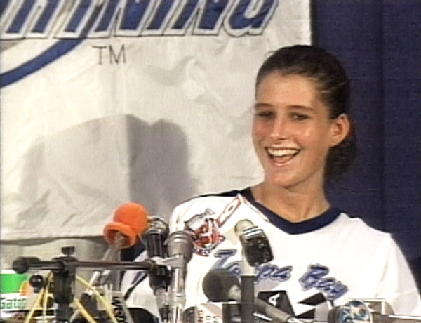 Manon Rhéaume at a press conference following her appearance in an NHL exhibition game, September 1992. Source: MTV.