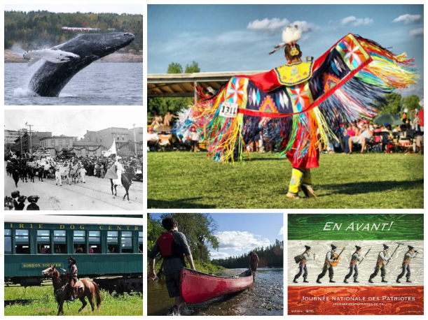 From top right, clockwise; a pow-wow in Nova Scotia; a poster promoting Patriot Day celebrations in Quebec; canoeing at Paddlefest, New Brunswick; a train robbery enactment in progress in Manitoba; Victoria Day parade in Victoria, BC, circa 1920s; whale watching in Tadoussac, QC.