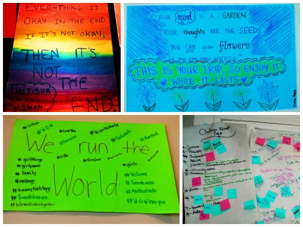 Artwork and discussion notes from group's activity sessions at the Regent Park Mainspace.