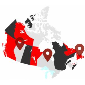 Canada Map - Alberta, Ontario, NFL
