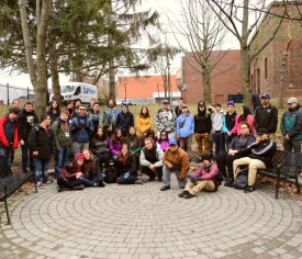 Group photo of Wolastoq Education Initiative Students and YMCA Academy exchange group. Photo by Sarah Cowan.