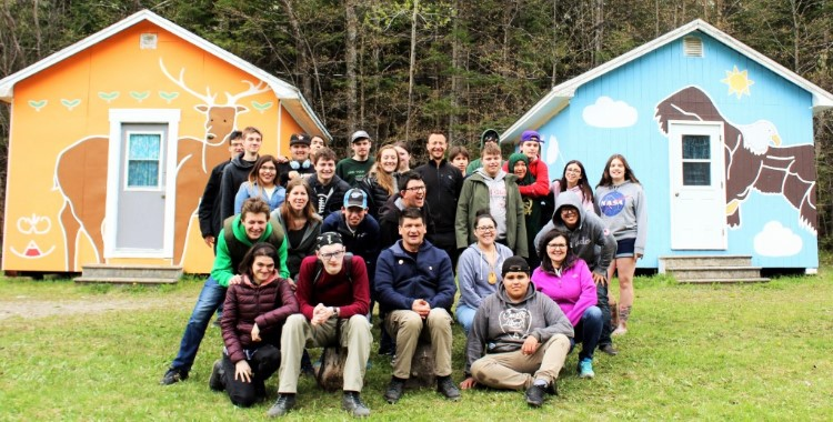 Group photo of YMCA Academy and Wolastoq Education Initiative students on exchange in Tobique, New Brunswick.