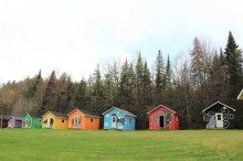 Colorful outdoor cabins in Tobique, New Brunswick
